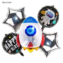 Load image into Gallery viewer, Outer Space Theme Birthday Party Astronaut Rocket Ship Foil Balloons Galaxy Solar System