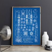 Load image into Gallery viewer, Russian Rocket Blueprint Patent Gallery Wall Art Canvas Print Aviation artwork Soyuz-U2 choice of 5 colours