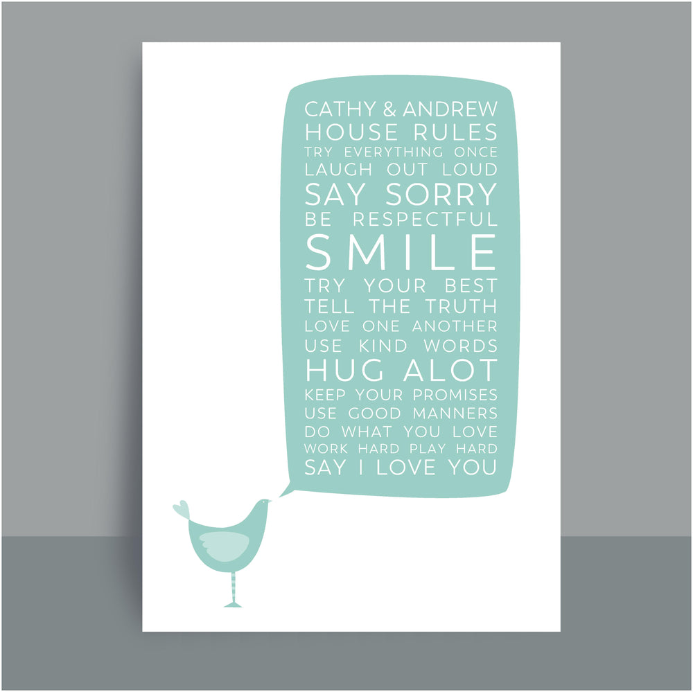 A4/A3 Personalised Prints | House Rules