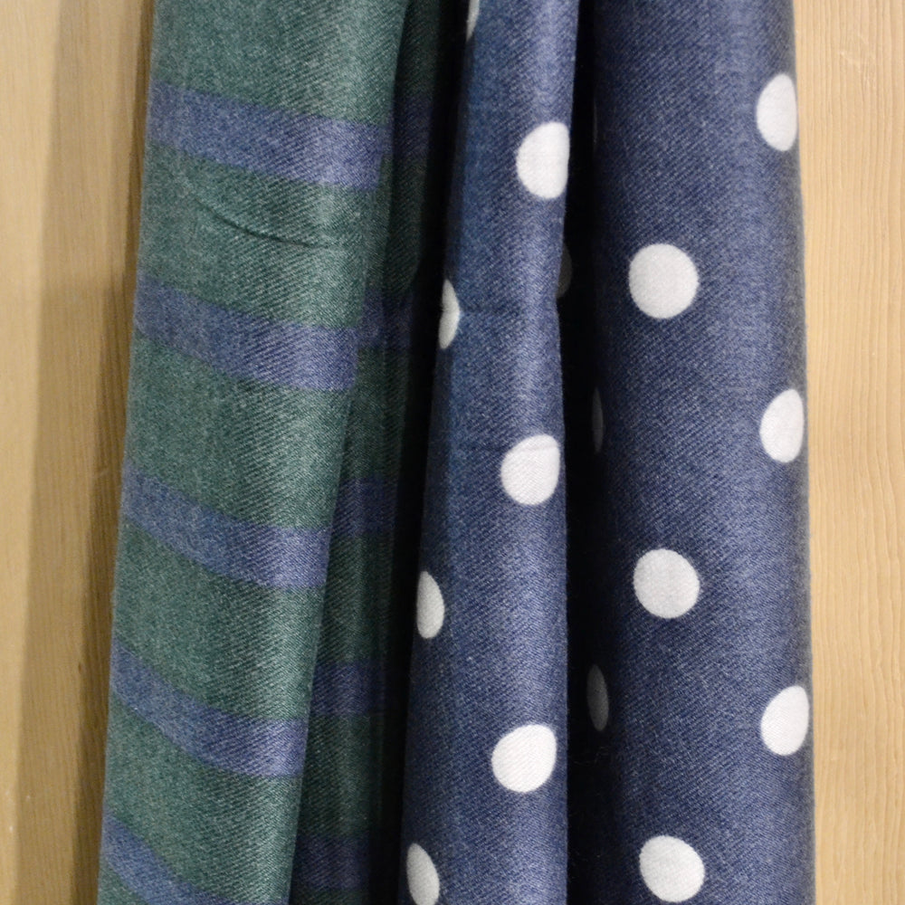 Scarves | Soft dotty and stripe, green and blue