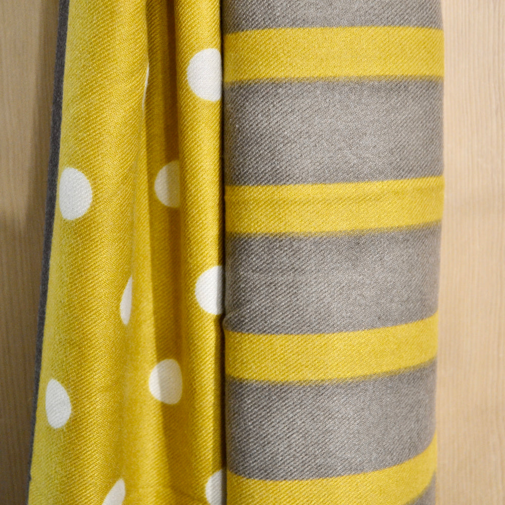 Scarves | Soft dotty and stripe, grey and mustard
