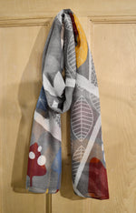 Scarves | Retro leaf and shapes, grey mustard and claret