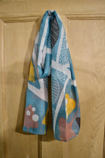 Scarves | Retro leaf and shapes, duck egg blue, mustard and pink