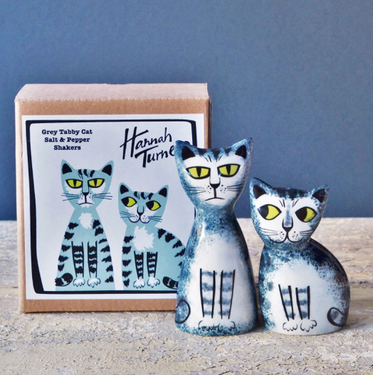 Gifts | Hannah Turner Grey tabby cat salt and pepper shakers