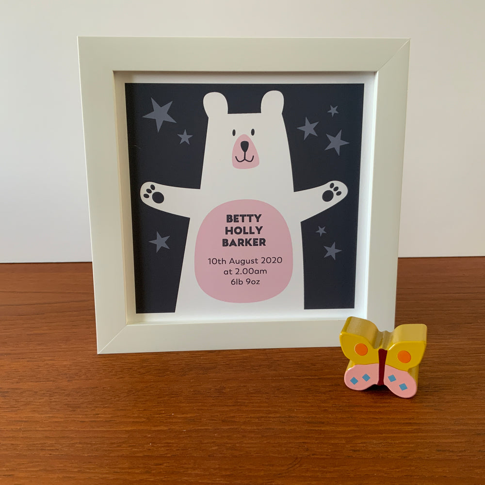 Framed Personalised Print | Bear-Pink