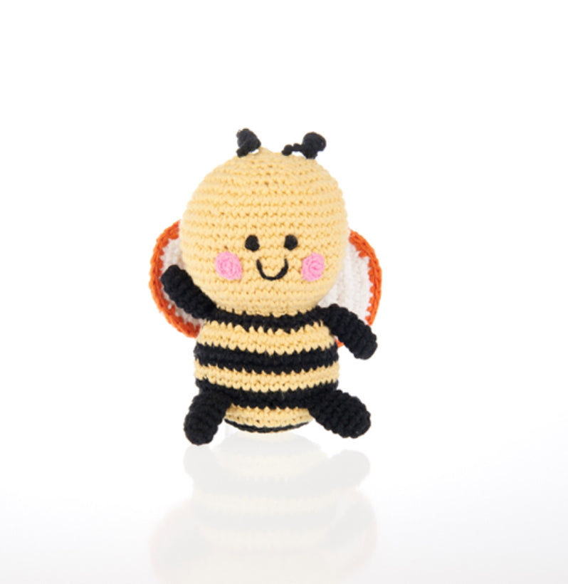 Children's | Organic cotton crochet Bee rattle
