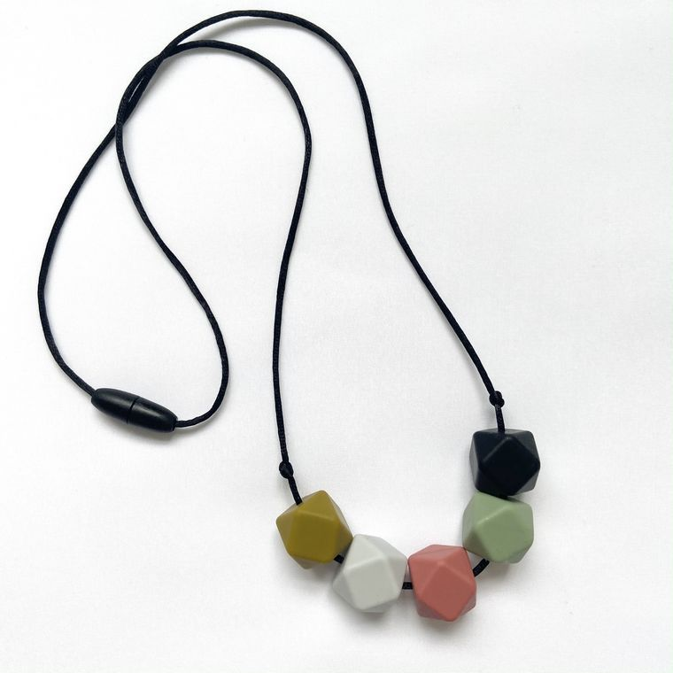 Jewellery | Stylish silicone necklace - Olive green, grey, coral, mint and black