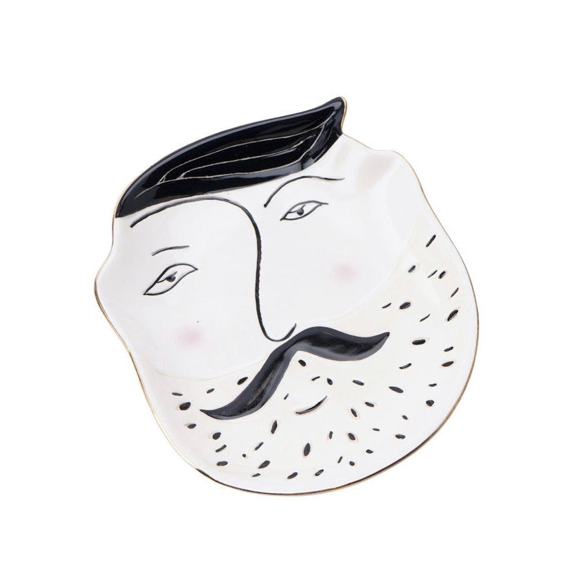 Mens | Quirky beardy face trinket tray