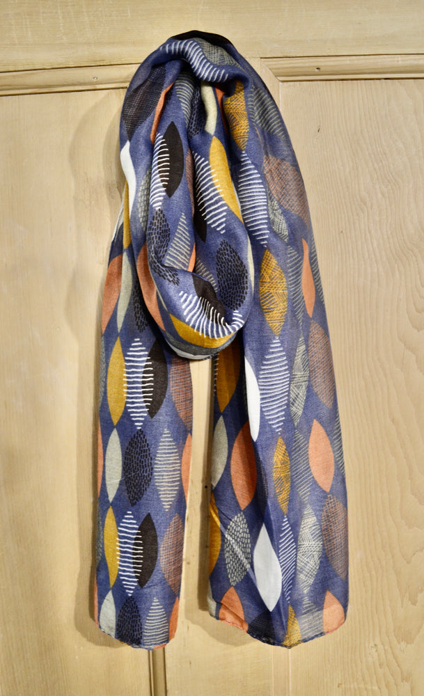 Scarves | Retro leaf print blue