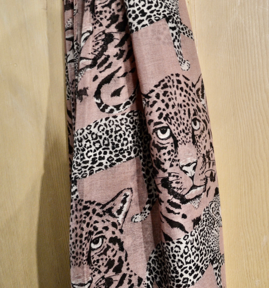 Scarves | Leopard animal print pink