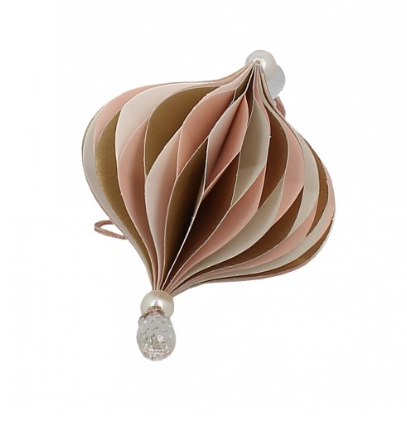 Christmas | Small onion shaped paper hanging decoration with pearl and jewel detail