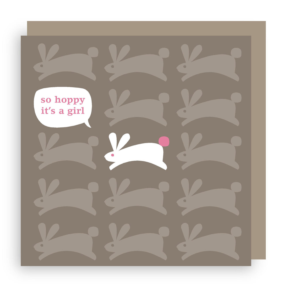 New baby girl card | bunny
