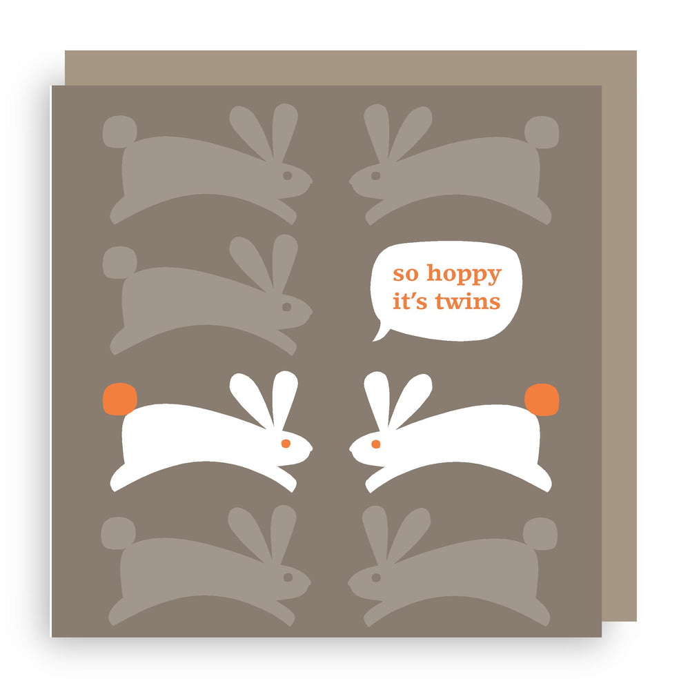 New baby twins card | bunny