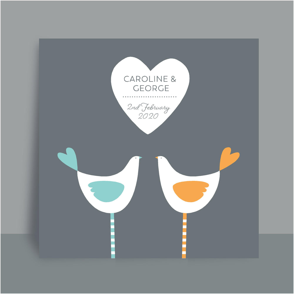 Framed Personalised Print | Love Birds- Duck egg blue & Yellow