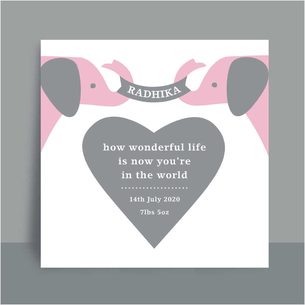 Framed Personalised Print | Wonderful Elephant - Pink