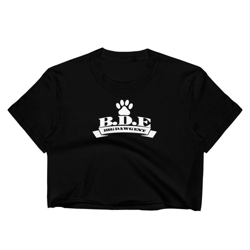 B.D.E Original Logo - Women's Crop Top (With Pink Paw back)