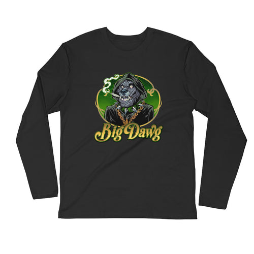 Long Sleeve Fitted Crew-Smoking Big Dawg