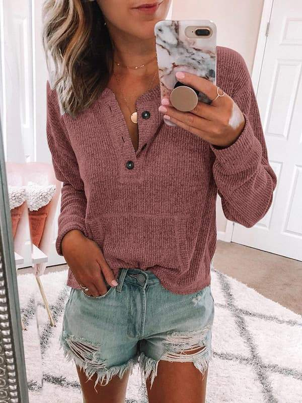 Mychelly Womens Cozy Henley Sweatshirt