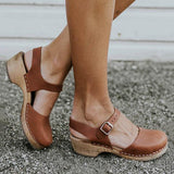 Mychelly Ankle Strap Chunky Heel Low Platform Sandals (Ship in 24 Hours)
