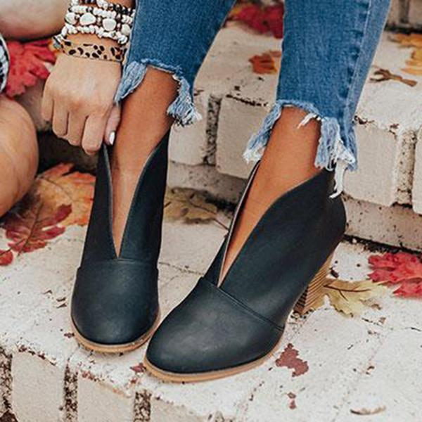 Mychelly Fashion Faux Leather Slip-on Boots