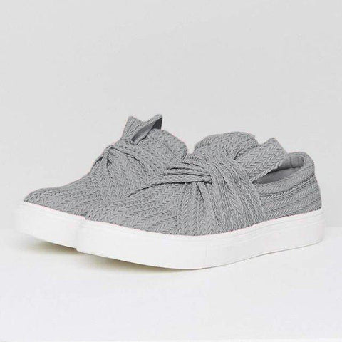 Mychelly Women Knitted Twist Slip On Sneakers