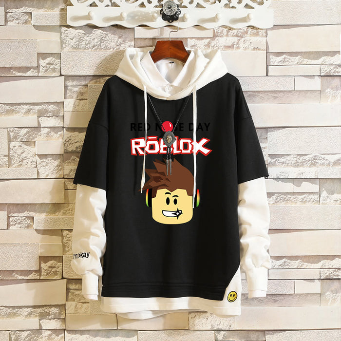 Japanese Anime ROBLOX RED NOSE DAY fake two-piece round neck sweater