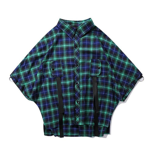 Japanese Street Short Sleeve Hip Hop Loose Plaid Shirt