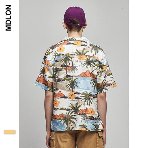 Japanese Sand Beach Print Oversize Men's Shirts