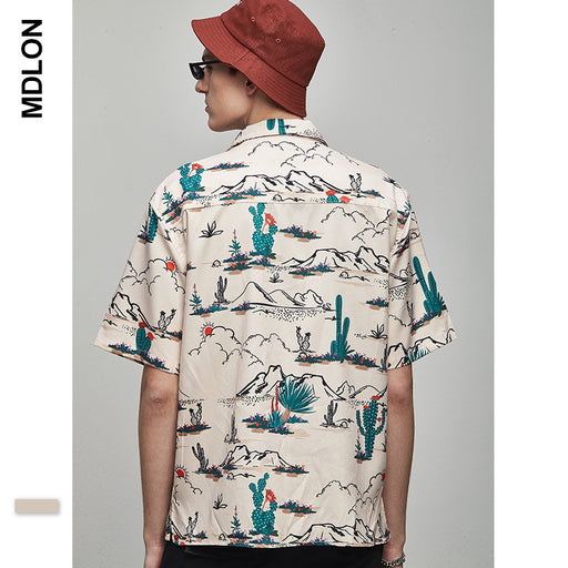 Japanese Desert Landscape Print Loose Men's Shirts