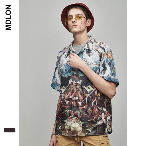 Japanese Abstract Painting Print Oversize Men's Shirts