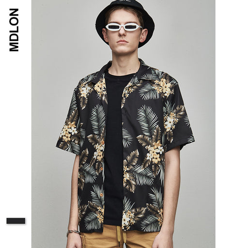 Japanese Retro Flower Print Oversize Men's Shirts