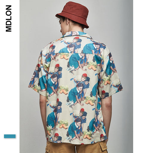 Japanese Retro Print Oversize Men's Shirts