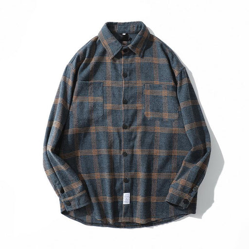 Japanese Fashion Lapel Plaid Long-Sleeved Loose Wild Casual Street Shirt