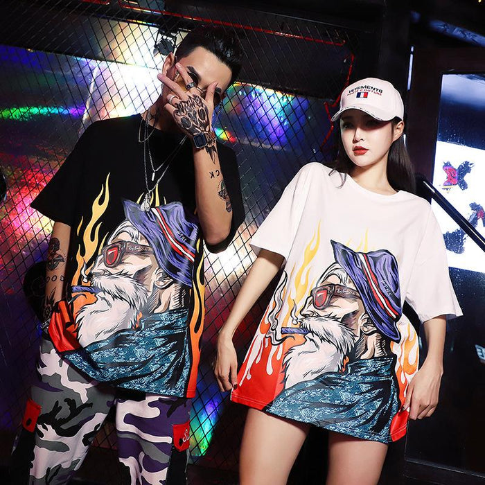 Grunge Hip-hop baggy old flame print T-shirts