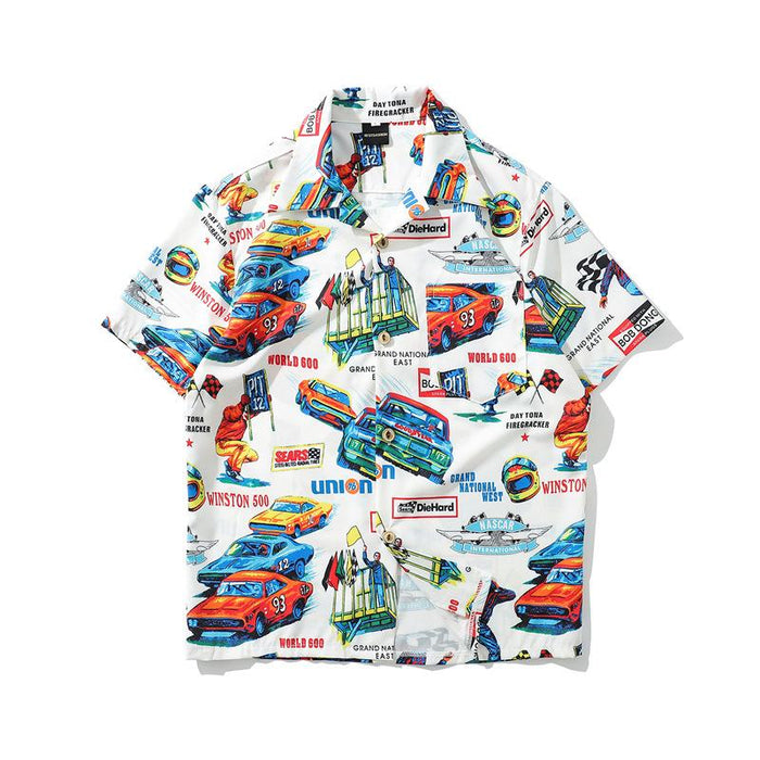 Japanese Cartoon Print Short Sleeve Loose Street Shirt
