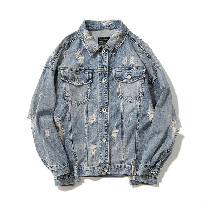 Foreign Trade New Coat Denim Japanese Street Jacket Hole Printing Tide