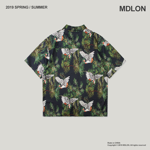 Japanese Retro Crane Print Oversize Men's Shirts