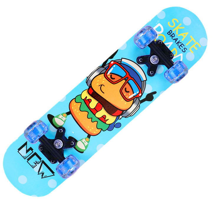 Japanese Children Primary Cartoon Four-wheel Double Warped Skateboard