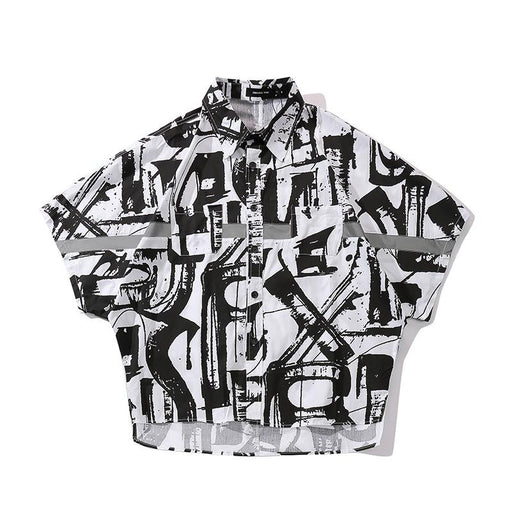 Japanese  Wild Personality Printed Reflective Short-Sleeved Street Shirt