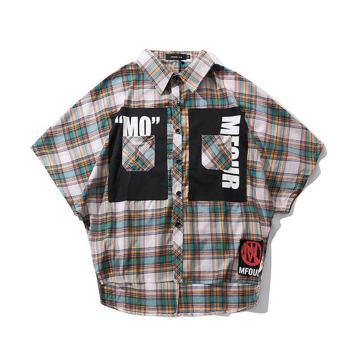 High Street Trend Japanese Hip Hop Plaid Shirt
