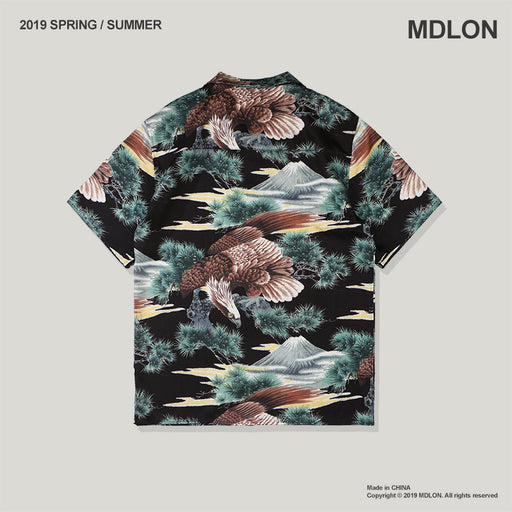 Japanese Eagle Print Oversize Men's Shirts