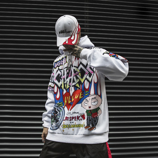Kokoakeiko Japanese Hip Hop Graffiti Print Sweater