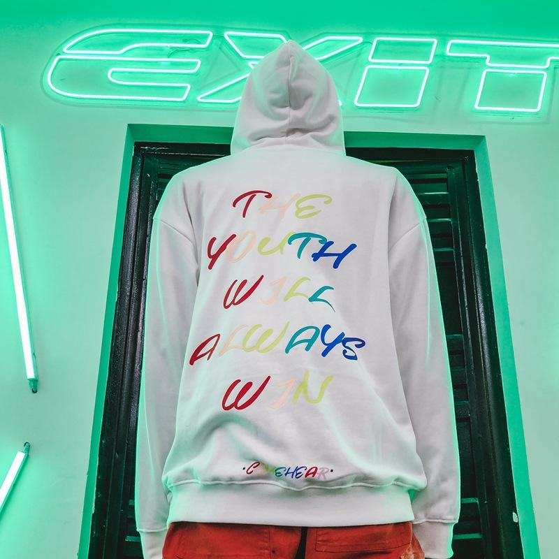 National Tide Colorful Letters Hooded Sweater Hip Hop Japanese Street Coat
