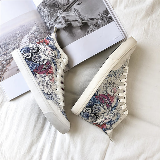 Japanese trendy men's trend all-match graffiti canvas shoes breathable high-top sneakers