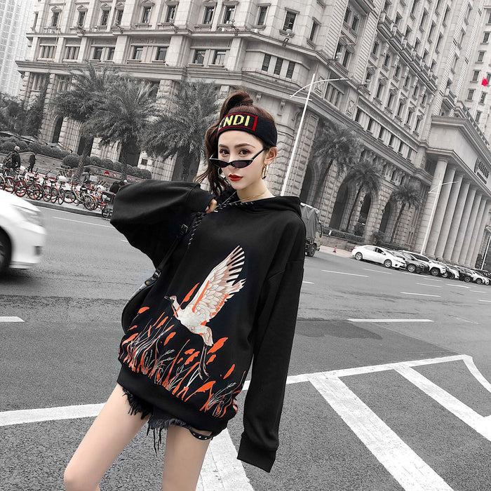 New Hooded Tide Rice Ear Crane Hip Hop Japanese Street Sweater Coat