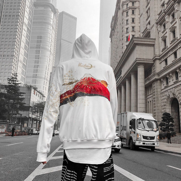 Tide Brand Hooded Embroidery Japanese Street Hip Hop Sweater Coat