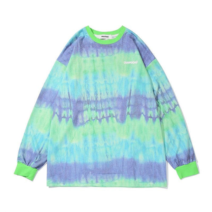 Sweater  Hip Hop Gradient Tie Trend Retro Loose Shoulder Shirt