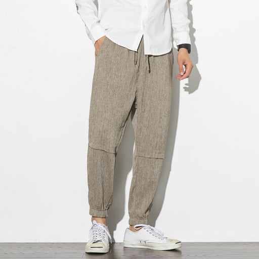 Japanese linen casual loose sweatpants drawstring pants