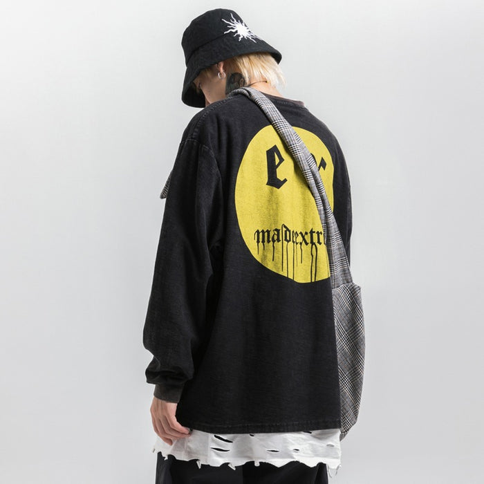 Kokoakeiko Japanese Hip Hop Smiley print Round Neck Sweater