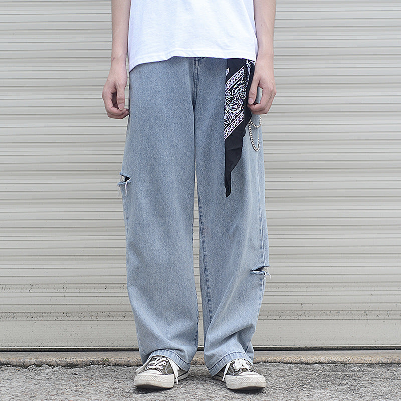 Japanese trendy male loose straight-leg retro wide-leg daddy jeans